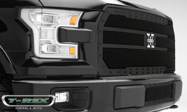 T-Rex - T-Rex Stealth X-Metal Grille, Black, Mild Steel, 1 Pc, Replacement 6715731-BR