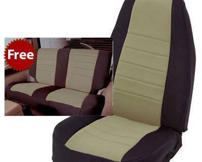 Smittybilt - Smittybilt Neoprene Seat Cover 76-90 Wrangler CJ/YJ Set Front/Rear Tan Smittybilt 471025