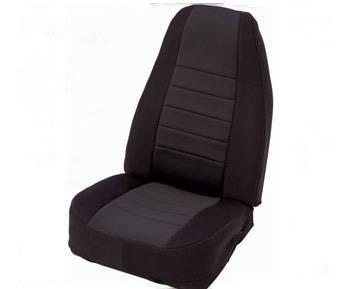 Smittybilt - Smittybilt Neoprene Seat Cover Front Set 76-90 Jeep CJ/YJ Black/Black Smittybilt 47401