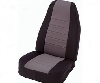 Smittybilt - Smittybilt Neoprene Seat Cover Front Set 97-02 Wrangler TJ Black/Charcoal Smittybilt 47022