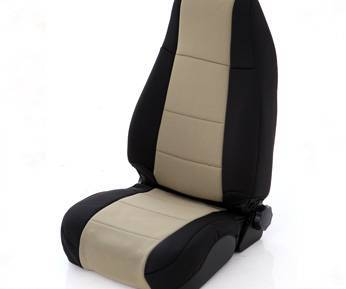 Smittybilt - Smittybilt Neoprene Seat Cover Rear 08-09 Wrangler JK Unlimited 4 Door Black/Tan Smittybilt 46524