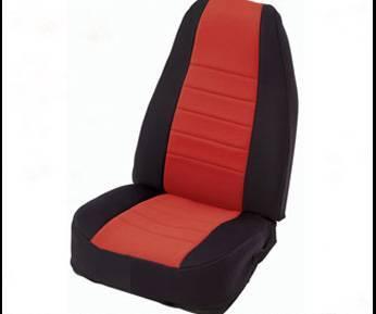 Smittybilt - Smittybilt Neoprene Seat Cover Rear 2007 Wrangler JK Unlimited 4 Door Black/Red Smittybilt 47930