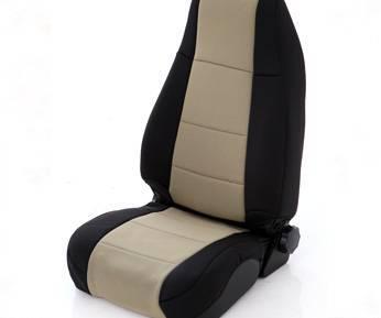 Smittybilt - Smittybilt Neoprene Seat Cover Rear 97-02 Wrangler TJ Black/Tan Smittybilt 47124