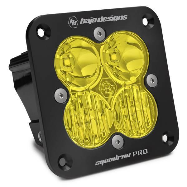 Baja Designs - Baja Designs Flush Mount LED Light Pod Black Amber Lens Driving/Combo Pattern Squadron Pro Baja Designs 491013