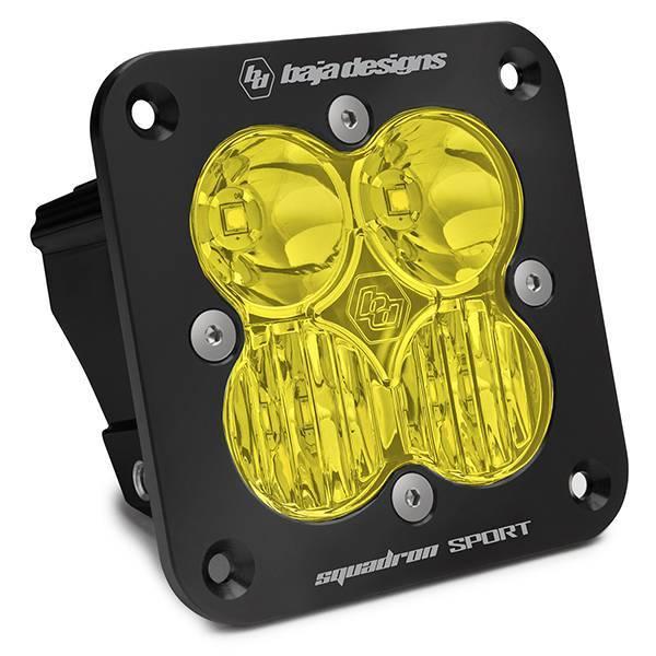 Baja Designs - Baja Designs Flush Mount LED Light Pod Black Amber Lens Driving/Combo Pattern Squadron Sport Baja Designs 551013