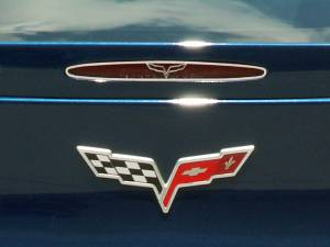 Lighting - Tail Lights - American Car Craft - American Car Craft 5th Brake Light Trim Crossed Flags Style GML 042115