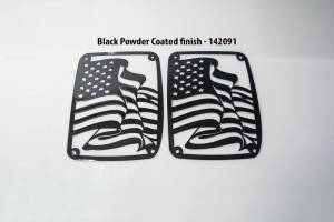 American Car Craft - American Car Craft 142091, 07-18 Jeep Wrangler Tail Light Cover Flag, Black 142091