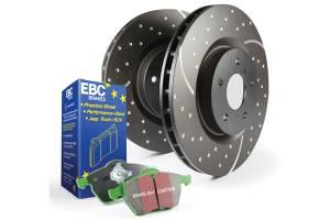 EBC Brakes GD sport rotors, wide slots for cooling to reduce temps preventing brake fade. S3KF1286