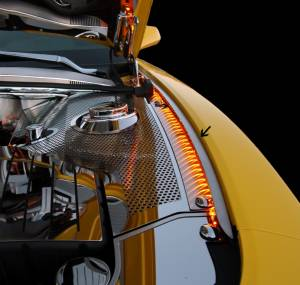 Exterior - Fenders & Flares - American Car Craft - American Car Craft Inner Fender Liners Polished 4pc w/Top Caps Illum. Blue LED 103039-BLUL