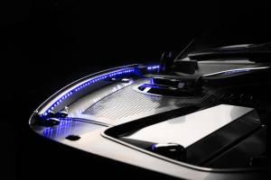 Exterior - Fenders & Flares - American Car Craft - American Car Craft Inner Fender Liners Polished 4pc w/ Top Caps Illum. Green LED 103051-GRNL