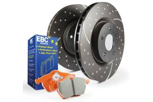 EBC Brakes GD sport rotors, wide slots for cooling to reduce temps preventing brake fade. S8KF1049