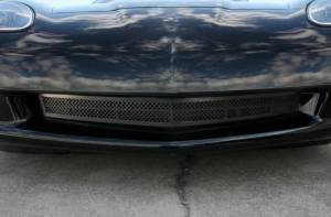 Exterior - Grilles - American Car Craft - American Car Craft Grille Laser Mesh Front; C6 Black Powder Coat Stealth 042093