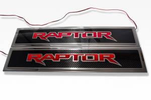 American Car Craft 2017-2018 Ford Raptor Illuminated ''Raptor'' Doorsills Carbon Fiber 771053-BLUL