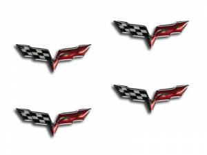 Bed Accessories - Truck Bed Accessories - American Car Craft - American Car Craft Taillight C6 Crossed Flag Emblems 2pc 042123