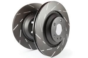 EBC Brakes Slotted rotors feature a narrow slot to eliminate wind noise. USR7710