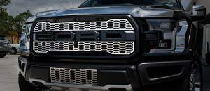 American Car Craft Front Upper Grille Overlays Factory Style Polished Stainless 2pc 772054