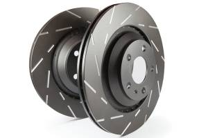 EBC Brakes Slotted rotors feature a narrow slot to eliminate wind noise. USR7702