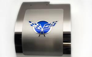 American Car Craft Alternator Cover Polished Deluxe Crossed Flags GM Licensed Blue Carbon Fiber 033084-BLU