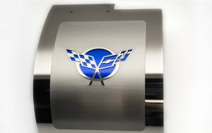 American Car Craft Alternator Cover Polished Deluxe Crossed Flags GM Licensed Dark Blue Solid 033084-DBLU