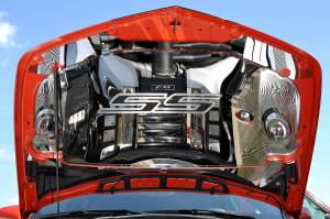 """Hoods & Accessories - Hoods - American Car Craft - American Car Craft Hood Panel Emblem Satin Carbon Fiber """"SS"""" 103018-BBLK"""