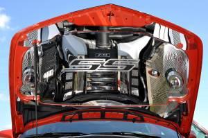 "Hoods & Accessories - Hoods - American Car Craft - American Car Craft Hood Panel Emblem Satin Carbon Fiber ""SS"" 103018-DBLU"