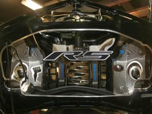 "Hoods & Accessories - Hoods - American Car Craft - American Car Craft Hood Panel Emblem Satin Carbon Fiber ""RS"" 103019-BBLK"