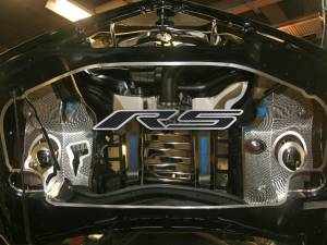 "Hoods & Accessories - Hoods - American Car Craft - American Car Craft Hood Panel Emblem Satin Carbon Fiber ""RS"" 103019-BLK"