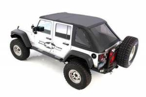 Smittybilt - Smittybilt Bowless Soft Top Combo 07-18 Wrangler JK 4 DR OEM Replacement W/Tinted Windows Black Diamond Smittybilt 9083235