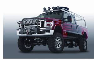 Exterior - Grille Guards and Bull Bars - Warn - Warn Short Powder Coated Black Brush Guard Skid Plate Step Plate 84785