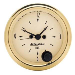 "Apparel & Accessories - Tools & Shop Equipment - AutoMeter - AutoMeter GAUGE, CLOCK, 2 1/16"", 12HR, ANALOG, GOLDEN OLDIES 1586"