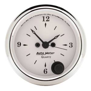 "Apparel & Accessories - Tools & Shop Equipment - AutoMeter - AutoMeter GAUGE, CLOCK, 2 1/16"", 12HR, ANALOG, OLD TYME WHITE 1686"