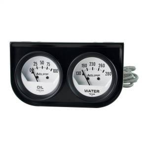 """Electrical - Gauges & Pods - AutoMeter - AutoMeter GAUGE CONSOLE, OILP/WTMP, 2"""", 100PSI/280?F, WHT DIAL, BLK BZL, AUTOGAGE 2323"""