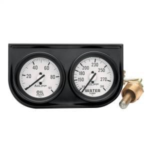 """Electrical - Gauges & Pods - AutoMeter - AutoMeter GAUGE CONSOLE, OILP/WTMP, 2"""", 100PSI/280?F, WHT DIAL, BLK BZL, AUTOGAGE 2326"""