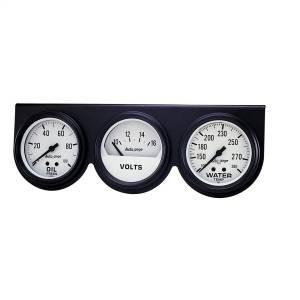 """Electrical - Gauges & Pods - AutoMeter - AutoMeter GAUGE CONSOLE, OILP/WTMP/VOLT, 2 5/8"""", 100PSI/280?F/16V, WHT DIAL, BLK BZL, AG 2328"""