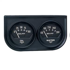"""Electrical - Gauges & Pods - AutoMeter - AutoMeter GAUGE CONSOLE, OILP/WTMP, 2"""", 100PSI/280?F, BLK DIAL, BLK BZL, AUTOGAGE 2345"""