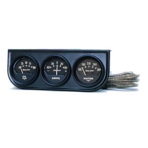 """Electrical - Gauges & Pods - AutoMeter - AutoMeter GAUGE CONSOLE, OILP/WTMP/AMP, 2"""", 100PSI/280?F/60A, BLK DIAL, BLK BZL, AG 2347"""