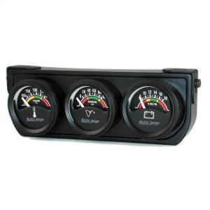 "Electrical - Gauges & Pods - AutoMeter - AutoMeter GAUGE CONSOLE, OILP/WTMP/VOLT, 1.5"", 100PSI/280?F/18V, ELEC BK DIAL, BK BZL, AG 2391"