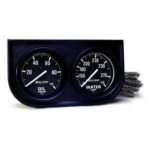 """Electrical - Gauges & Pods - AutoMeter - AutoMeter GAUGE CONSOLE, OILP/WTMP, 2"""", 100PSI/280?F, BLK DIAL, BLK BZL, AUTOGAGE 2392"""