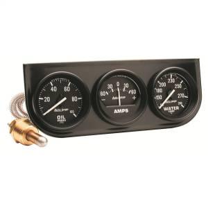 """Electrical - Gauges & Pods - AutoMeter - AutoMeter GAUGE CONSOLE, OILP/WTMP/AMP, 2"""", 100PSI/280?F/60A, BLK DIAL, BLK BZL, AUTOGAGE 2393"""