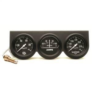 """Electrical - Gauges & Pods - AutoMeter - AutoMeter GAUGE CONSOLE, OILP/WTMP/AMP, 2 5/8"""", 100PSI/280?F/60A, BLK DIAL, BLK BZL, AG 2394"""