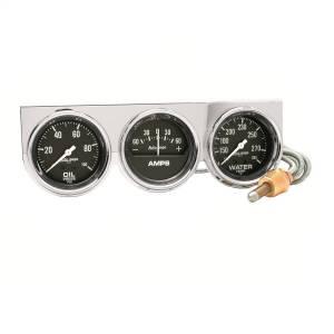 "Electrical - Gauges & Pods - AutoMeter - AutoMeter GAUGE CONSOLE, OILP/WTMP/AMP, 2 5/8"", 100PSI/280?F/60A, BLK DIAL, CHROME BZL, AG 2395"