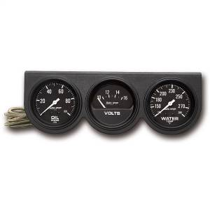 "Electrical - Gauges & Pods - AutoMeter - AutoMeter GAUGE CONSOLE, OILP/WTMP/VOLT, 2 5/8"", 100PSI/280?F/16V, BLK DIAL, BLK BZL, AG 2398"