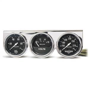 """Electrical - Gauges & Pods - AutoMeter - AutoMeter GAUGE CONSOLE, OILP/WTMP/VOLT, 2 5/8"""", 100PSI/280?F/16V, BLK DIAL, CHRME BZL, AG 2399"""