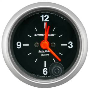 "Apparel & Accessories - Tools & Shop Equipment - AutoMeter - AutoMeter GAUGE, CLOCK, 2 1/16"", 12HR, ANALOG, SPORT-COMP 3385"
