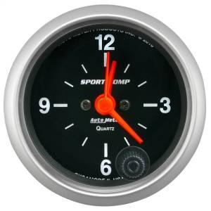 "Apparel & Accessories - Tools & Shop Equipment - AutoMeter - AutoMeter GAUGE, CLOCK, 2 1/16"", 12HR, ANALOG, SPORT-COMP 3385"