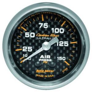 "Apparel & Accessories - Tools & Shop Equipment - AutoMeter - AutoMeter GAUGE, AIR PRESSURE, 2 1/16"", 150PSI, MECHANICAL, CARBON FIBER 4720"
