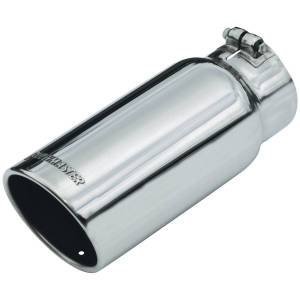 Flowmaster Exhaust Tip - 5.00 in. Rolled Angle Polished SS Fits 4.00 in. Tubing - clamp on 15368