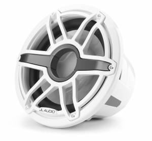 JL Audio M7-12IB-S-GwGw-4 12-inch (300 mm) Marine Subwoofer Driver, Gloss White Trim Ring, Gloss White Sport Grille, 4 ohm