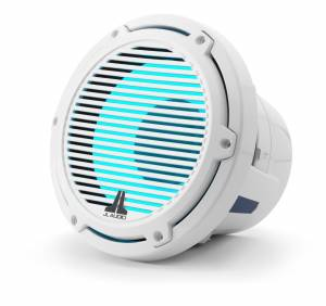 JL Audio - JL Audio M6-8IB-C-GwGw-i-4 8-inch (200 mm) Marine Subwoofer Driver with Transflective™ LED Lighting, Gloss White Trim Ring, Gloss White Classic Grille, 4 ohm - Image 1