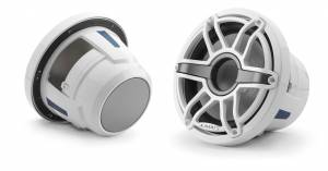 JL Audio - JL Audio M6-8IB-S-GwGw-4 8-inch (200 mm) Marine Subwoofer Driver, Gloss White Trim Ring, Gloss White Sport Grille, 4 ohm - Image 1